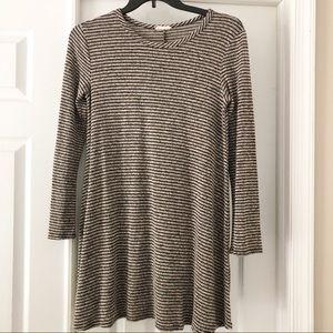 Pinc Gray Black Striped Long SleeveMini Dress XL